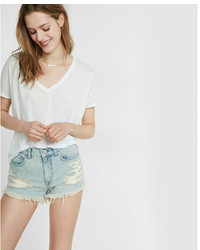 Express High Waisted Destroyed Denim Cutoff Shorts