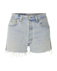 RE/DONE Levis Zip Embellished Frayed Denim Shorts