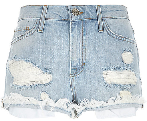 River Island Light Wash Distressed Ruby Denim Shorts | Where to ...
