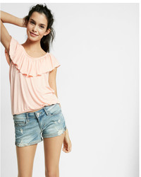 Express Low Rise Relaxed Destroyed Denim Shorts