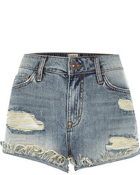 River Island Mid Wash Distressed Ruby Denim Shorts