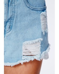 Missguided Nicole High Waisted Ripped Detail Denim Shorts Light Blue