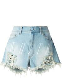 Off White Logo Print Distressed Denim Shorts