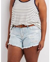 Charlotte Russe Plus Size Refuge Hi Rise Cheeky Denim Shorts