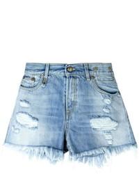 R 13 R13 Frayed Hem Distressed Denim Shorts