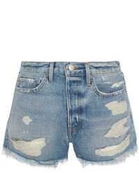 Frame Rigid Re Release Le Original Distressed Denim Shorts Mid Denim