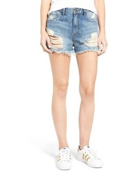 Sun & Shadow Ripped High Rise Denim Shorts