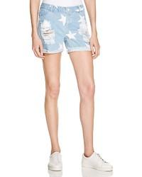 Noisy May Scar Star Shorts In Light Blue Denim