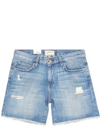 Current/Elliott The Boyfriend Distressed Rolled Denim Shorts
