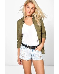 687a78f495c7 Boohoo Jen Distressed Fray Edge Denim Shorts Out of stock · Boohoo Zoe  Bleach Wash Distressed Denim Hotpant