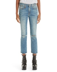 R13 Ripped Kick Fit Jeans