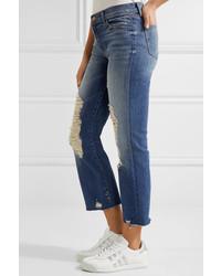be5e53989fa2c ... J Brand Selena Distressed Cropped Mid Rise Bootcut Jeans Mid Denim ...