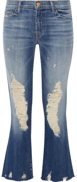 a76794de41ac7 J Brand Selena Distressed Cropped Mid Rise Bootcut Jeans Mid Denim ...