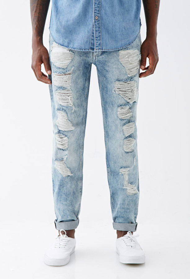 Ripped Jeans For Men Light Blue | Bbg Clothing