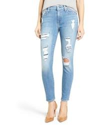 7 For All Mankind Embellished Destroyed Ankle Skinny Jeans