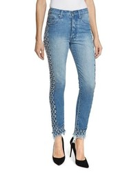PRPS Amx Cutout Side Fray Hem Ankle Jeans