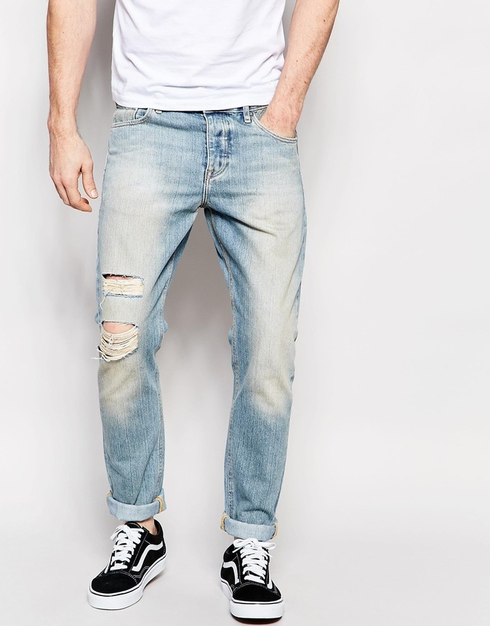 ... Asos Brand Slim Jeans With Rip And Repair In Bleach Blue ...