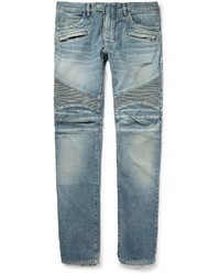 Balmain Slim Fit Distressed Denim Biker Jeans
