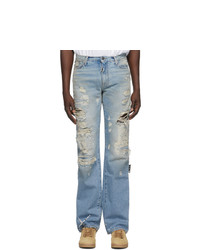 Off-White Blue Bleached Distress Jeans