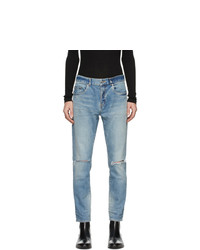 Saint Laurent Blue Distressed Slim Jeans