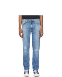 Nudie Jeans Blue Lean Dean Repairs Jeans