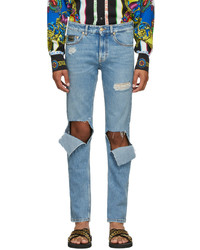 VERSACE JEANS COUTURE Blue Straight Leg Ripped Jeans