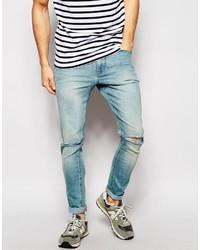 Men's Light Blue Ripped Jeans from Asos | Men's Fashion