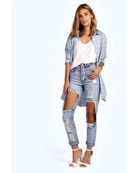 Boohoo Brea Distressed Boyfriend Cheeky Rips Jeans