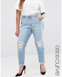 89be39d026325 Asos Curve Curve Kimmi Shrunken Boyfriend Jean In Esme Light Wash With Rips