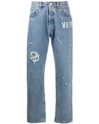 Vetements Distressed Straight Leg Jeans