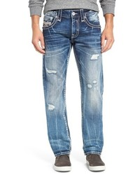 Distressed straight leg jeans medium 915533