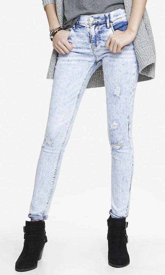 c989bb29ba19d ... Light Blue Ripped Jeans Express Mid Rise Destroyed Jean Legging ...
