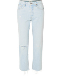 Grlfrnd Helena Distressed High Rise Straight Leg Jeans