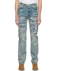 Amiri Indigo Boro Repair Jeans