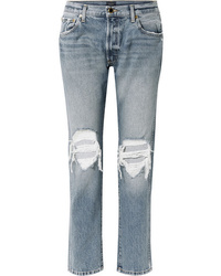 Khaite Kyle Distressed Low Rise Straight Leg Jeans