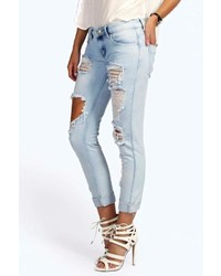 Boohoo Lea Ripped Distressed Boyfriend Jeans