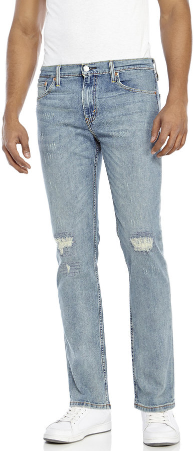 levi 39 s light wash 511 slim fit distressed jeans where to. Black Bedroom Furniture Sets. Home Design Ideas