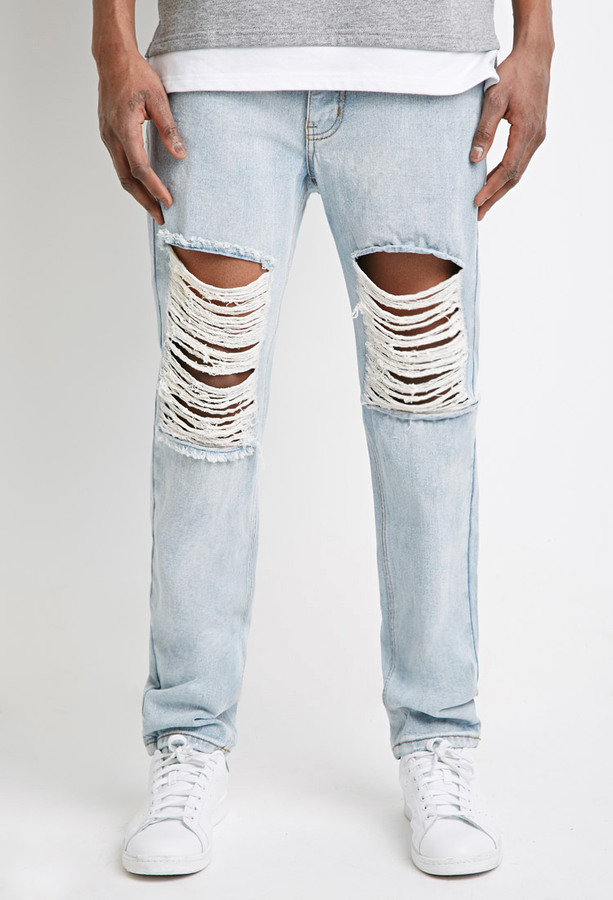 Forever 21 Light Wash Destroyed Slim Leg Jeans | Where to buy ...