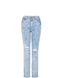 New Look Blue High Rise Ripped Mom Jeans