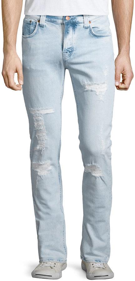 1a3688e17ee Nudie Jeans Nudie Grim Tim Distressed Denim Jeans Light Blue, $260 ...