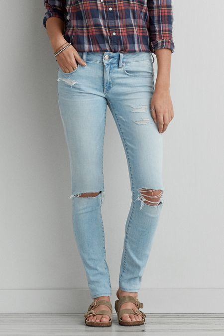 Gray skinny jeans american eagle