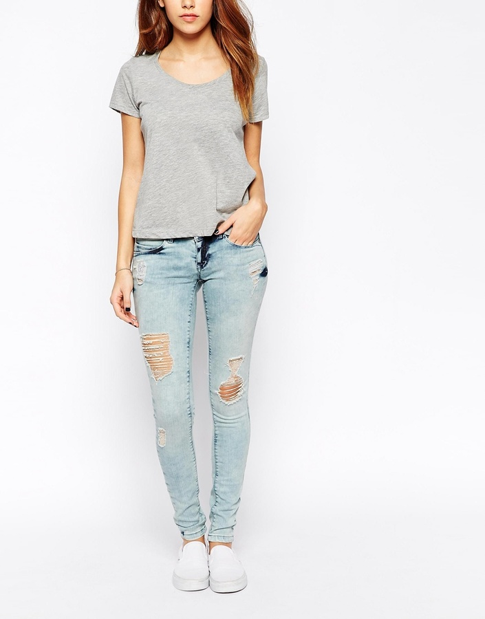 Only Coral Destroy Skinny Fit Jeans In Light Wash | Where to buy ...