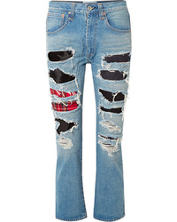 Junya Watanabe Patchwork Distressed High Rise Straight Leg Jeans