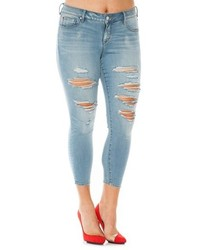 Plus size slink jeans ripped stretch ankle skinny jeans medium 1334050