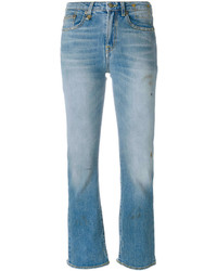 R 13 R13 Distressed Cropped Jeans