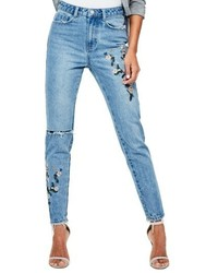 Riot ripped high waist embroidered jeans medium 5361455