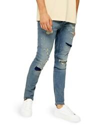 Topman Skinny Fit Rip Repair Jeans