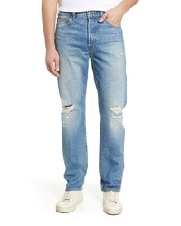 7 For All Mankind Straight Leg Ripped Jeans