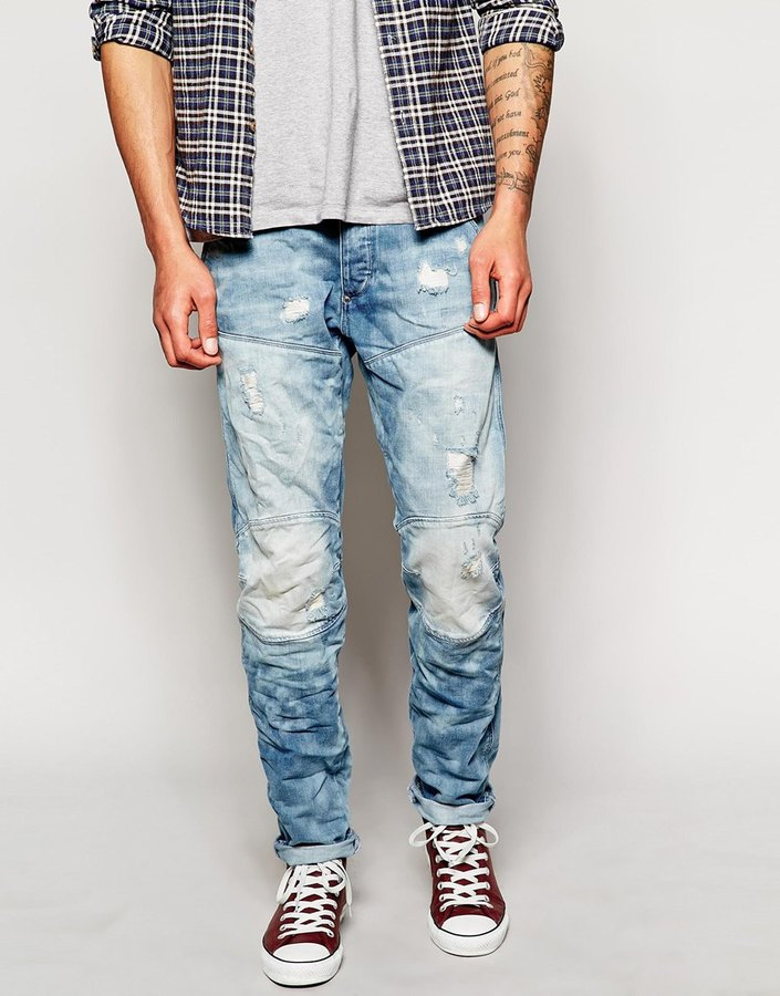 G Star Tapered Slim Light Aged Distressed Wash Jean | Where to buy ...