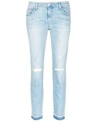 Current/Elliott The Fling Let Out Hem Ripped Relaxed Fit Jeans